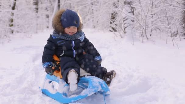 Porträt eines süßen Babys im Schlitten im Winterpark.