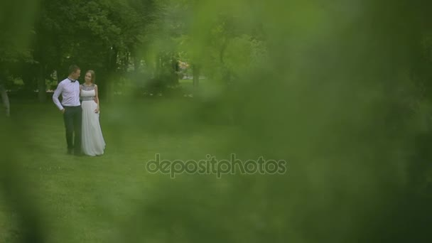 Newlyweds couple walking in the Park on the grass.