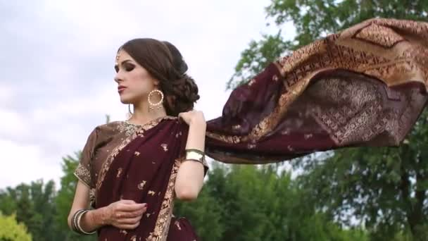 Schönes Mädchen in der indischen Kleid Sari, im freien
