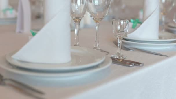 Served table in restaurant. Empty glasses on table