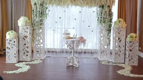 Wedding Arch With White Flowers In The Restaurant Stock Video