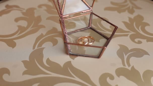Wedding rings lie in a glass box, close-up.
