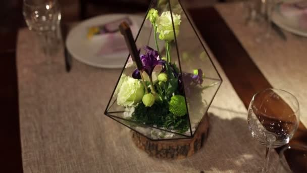 Florarium in wedding decoration in the restaurant stock video florarium in wedding decoration in the restaurant stock video junglespirit Image collections