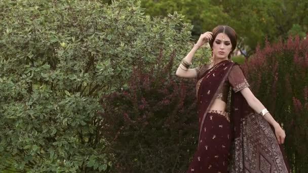 schöne hinduistische Mädchen in traditioneller Tracht Sari.
