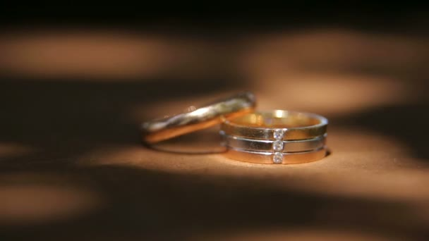 Two Golden wedding rings close-up.