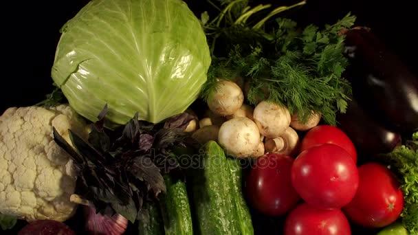 Mnoho různých čerstvá zelenina na černém povrchu