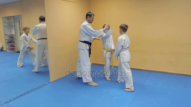 Boys In Kimono Have An Aikido Training With Coach Stock Video