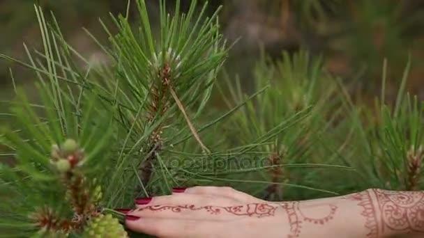 Közeli kép a lányok kéz a henna mehendi minták.