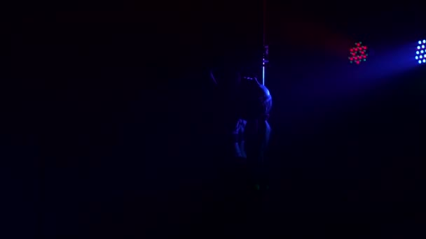 Sexy womans silhouette dancing near the pole. Ass