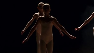 A group of ballerinas dancing on stage in the dark