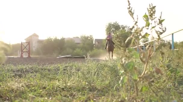 Teenage girl galloping on a horse, slow motion.