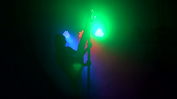 Silhouette of girl performing erotic dance on pole
