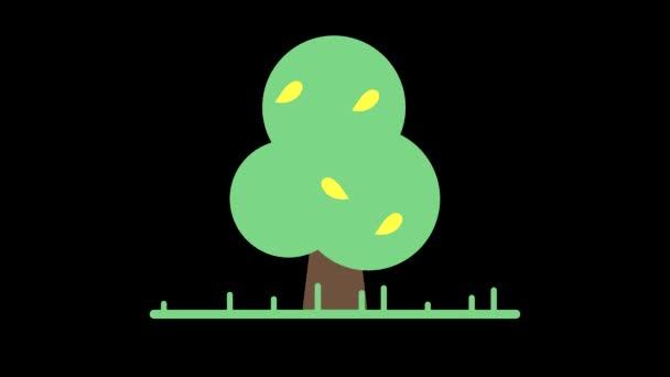 Animation Symbolbaum mit Blättern auf schwarzem Hintergrund