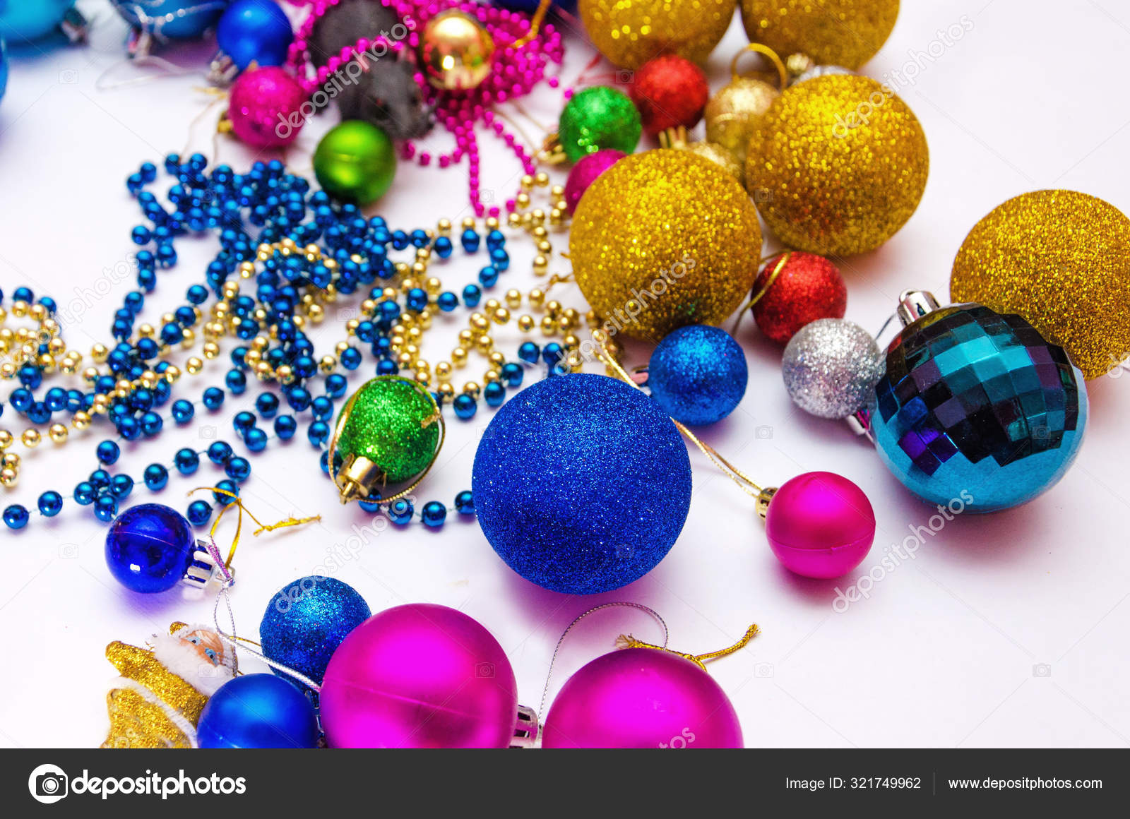 Colorful Christmas Decorations Scattered White Background Preparation Decorating Christmas Tree Stock Photo Image By C R79oleg 321749962