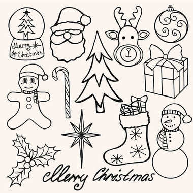 Christmas Elements Hand Drawn Vector stock illustration