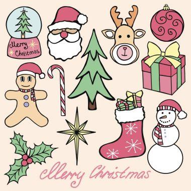 Christmas Elements Hand Drawn Vector stock illustration