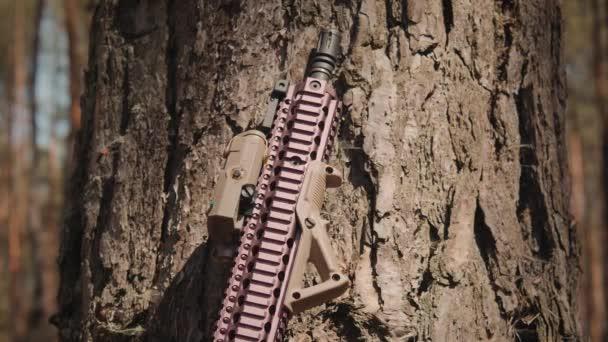 modernes Sturmgewehr neben einem Baum in einem Sommerwald platziert