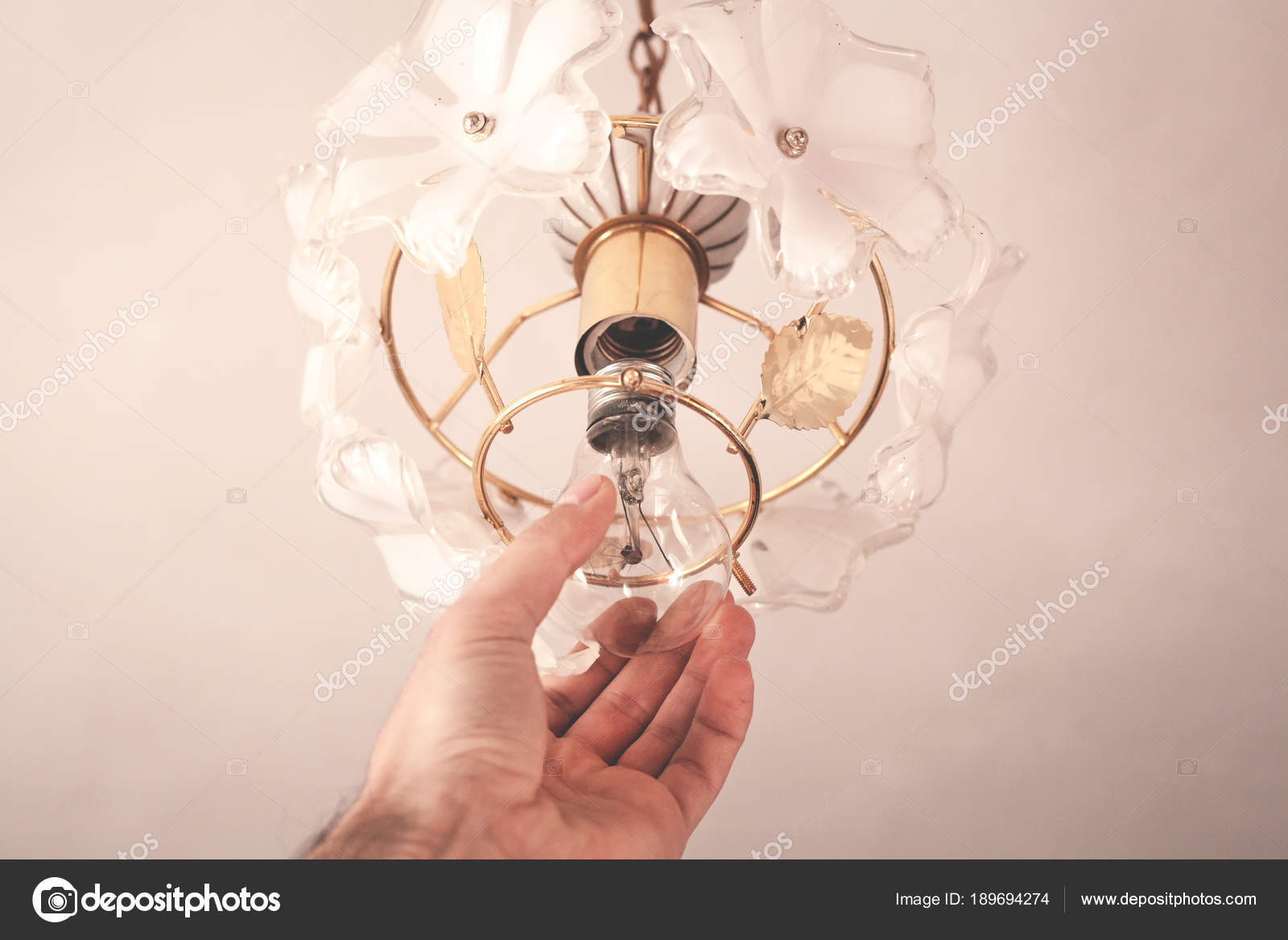 Changing Light Bulbs In Chandelier Stock Photo Andranik2017
