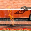 Tomb of Unknown soldier and Eternal flame in Alexander garden near Kremlin wall in Moscow, Russia — стоковое фото #124903696