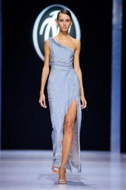 Model walk runway for Valentin Yudaskin catwalk at Spring-summer 2017 Moscow Fashion Week.