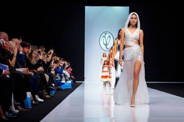 Model walk runway for VALENTIN YUDASHKIN catwalk at Spring-Summer 2017-2018 Season Moscow Fashion Week.