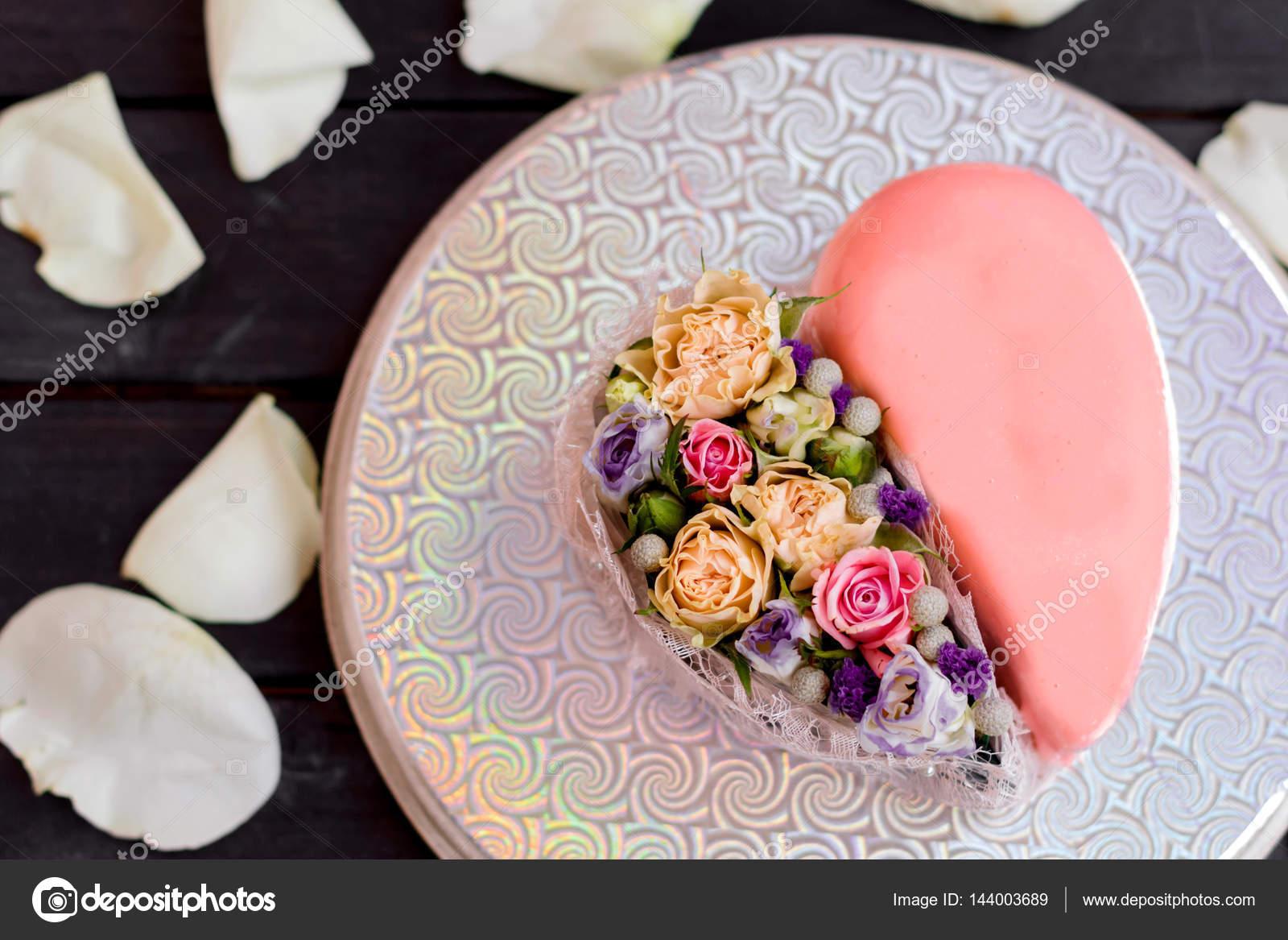 Mirror Glaze Heart Cake Dessert On Valentines Day.