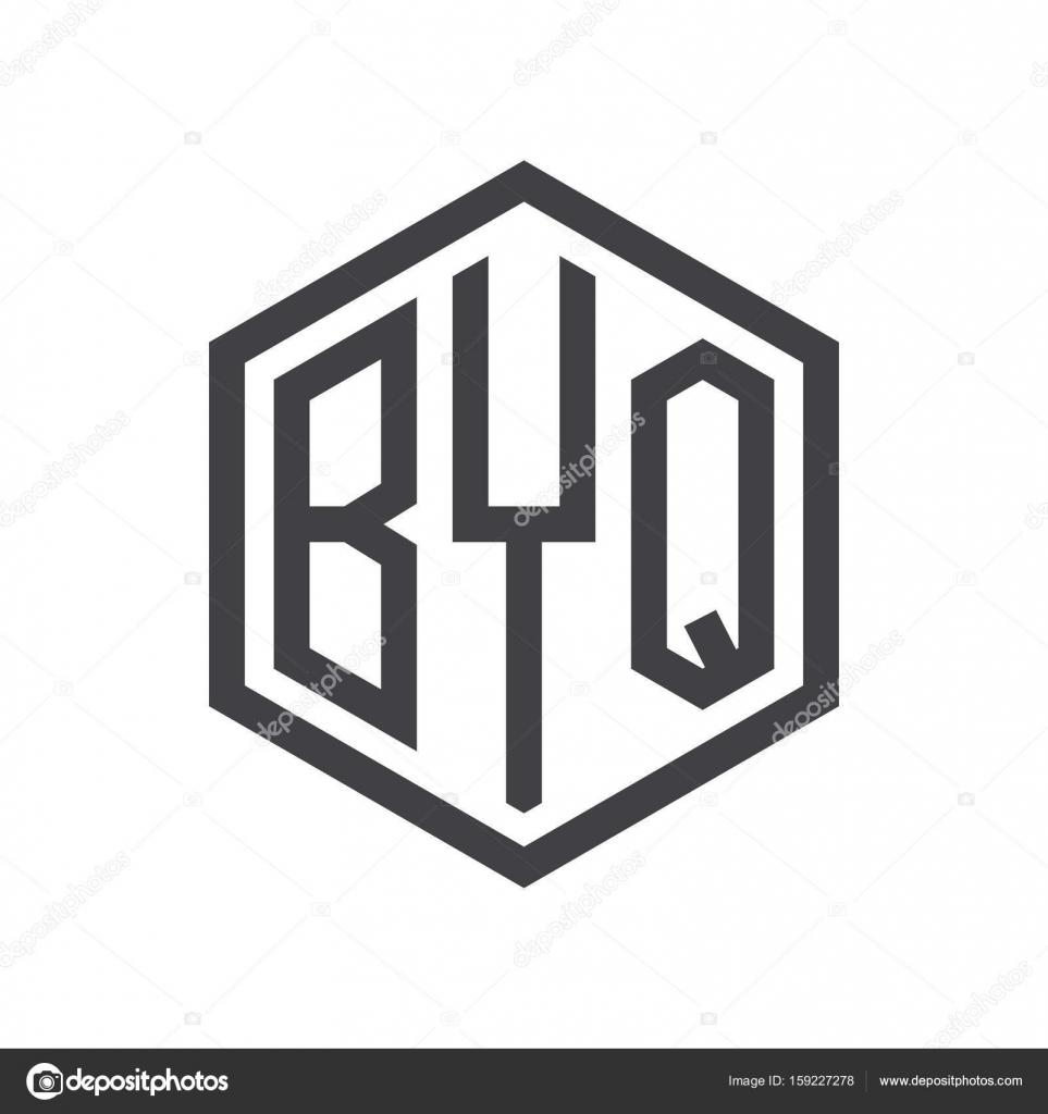three letter initials hexagon logo black — Stock Vector © khuluk
