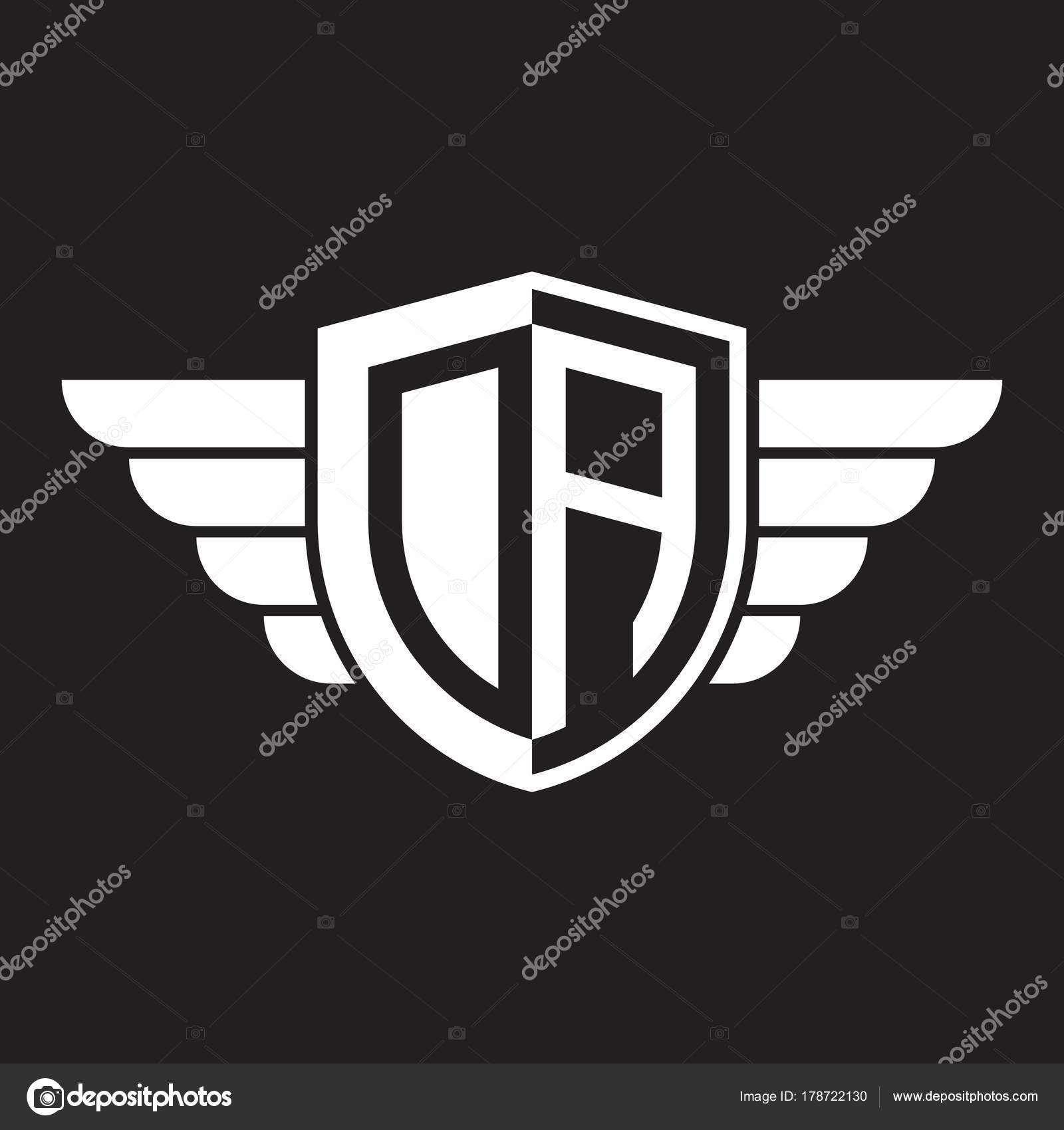 initial two letter logo shield wing stock vector
