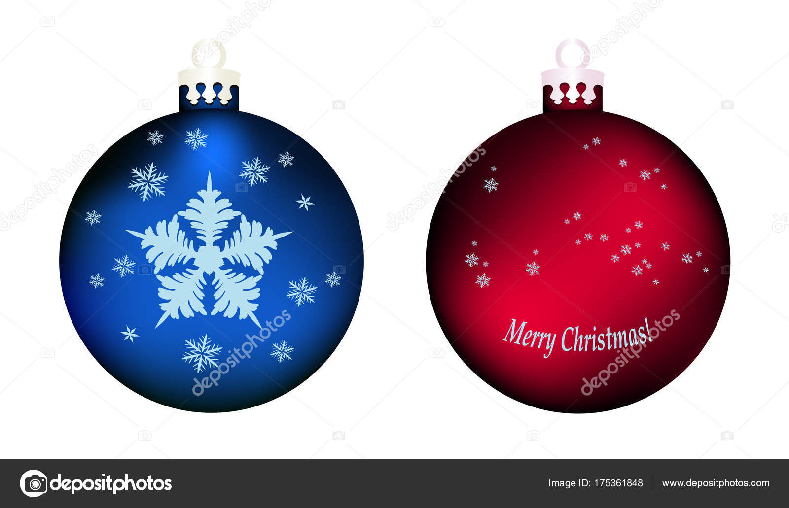 9a353d4df19f2 Set de dos bolas de árbol de Navidad rojo y azul grande — Vector de stock