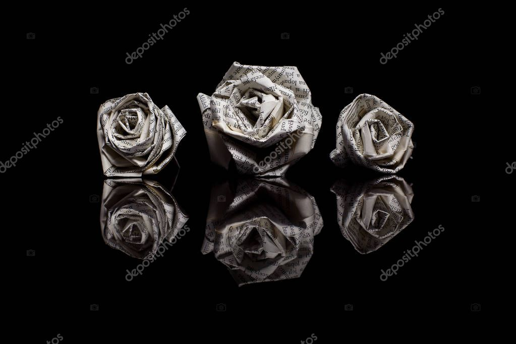 Three paper roses made from book pages isolated on black backgro three paper roses made from book pages isolated on black backgro stock photo mightylinksfo