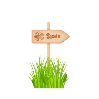 Camino de Santiago route sign on the pole
