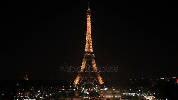 illuminated Eiffel Tower at night