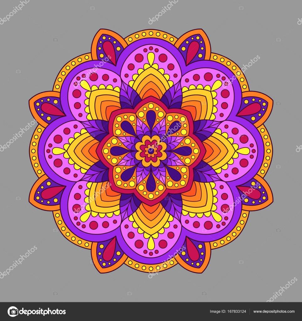 Elément déco Mandala de couleurs chaudes. Couleur orientale Cir ...
