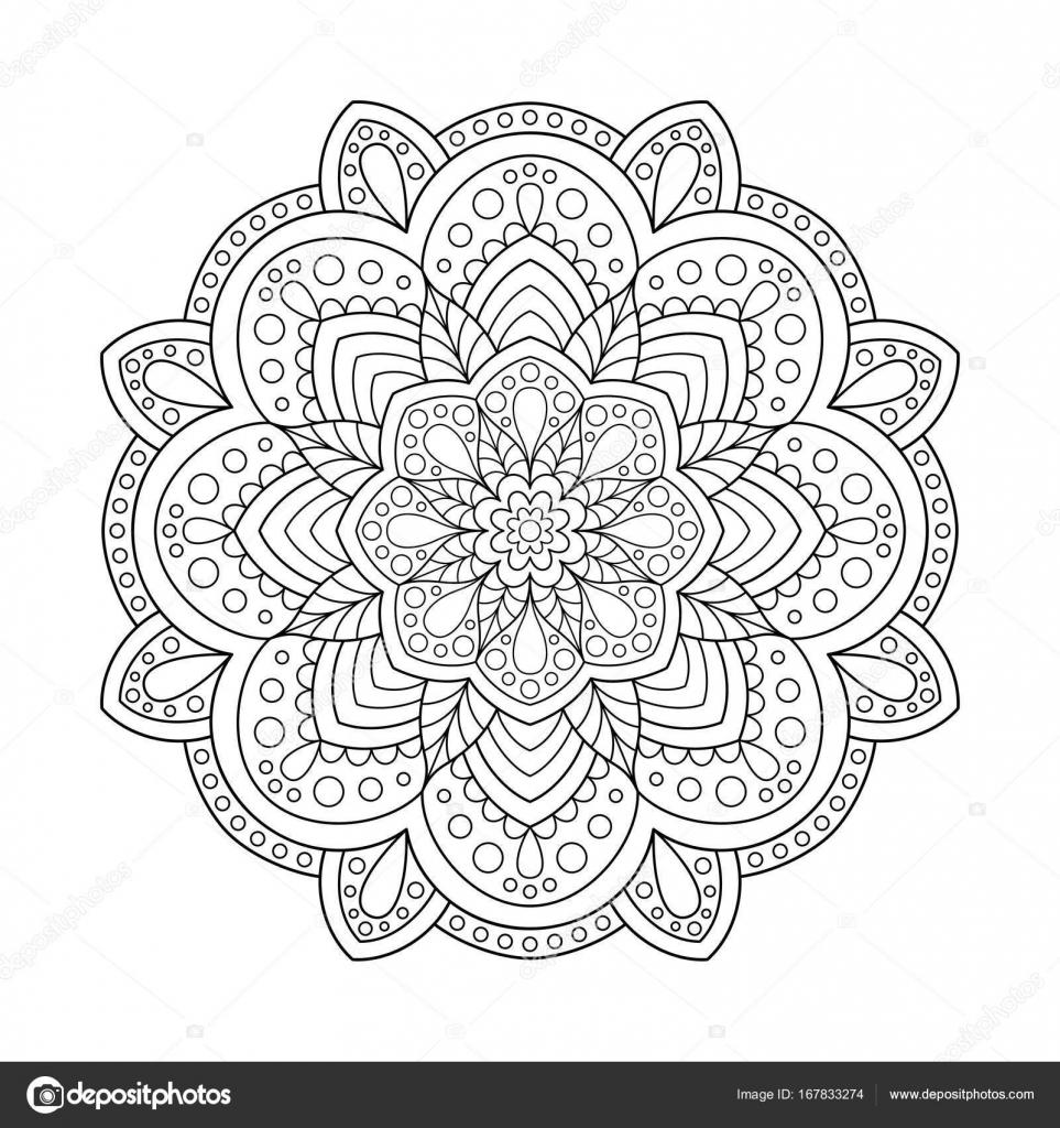 Mandala de elemento de diseño de página de libro para colorear ...