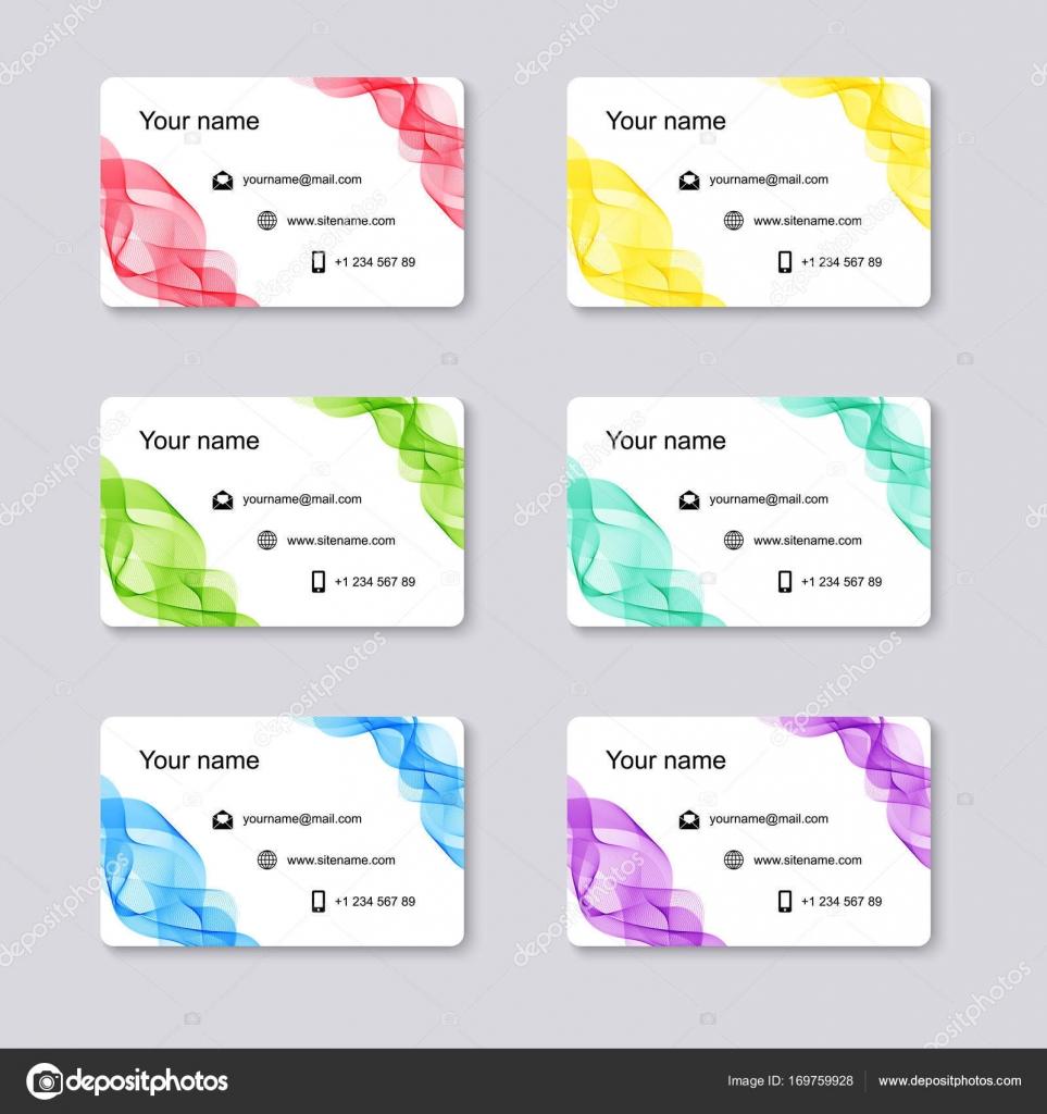 Reihe Von Isolierten Vorlagen Visitenkarten Mit Wellenlinien