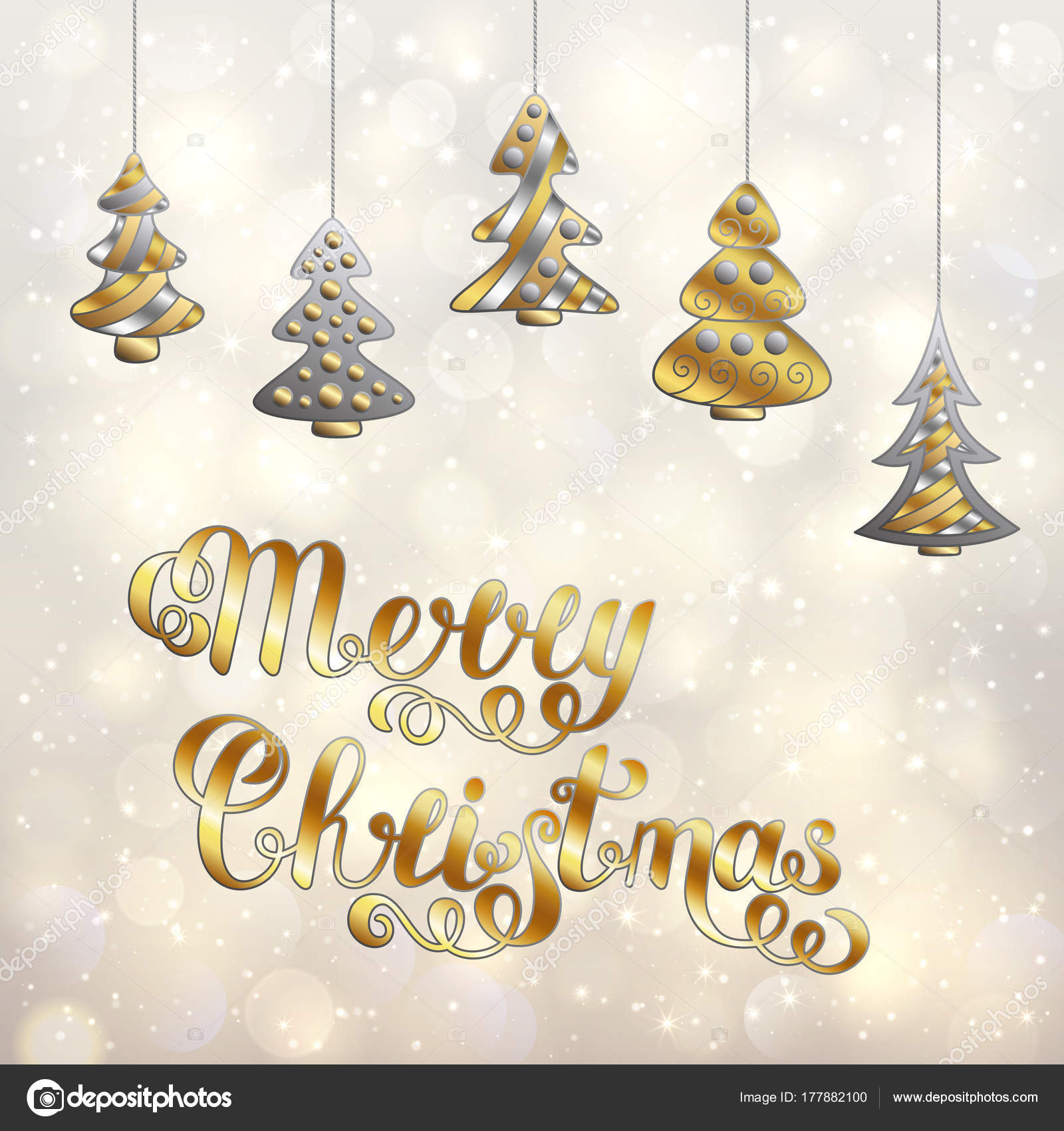 Stylized Accessory Christmas Trees and Lettering Isolated on Lig
