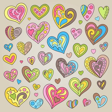 Set of Handdrawn Cute Pink, Green, Yellow, Brown, Blue, Hearts. Kit of Cartoon Romantic Prints with Patterns Pastel Colors. icon