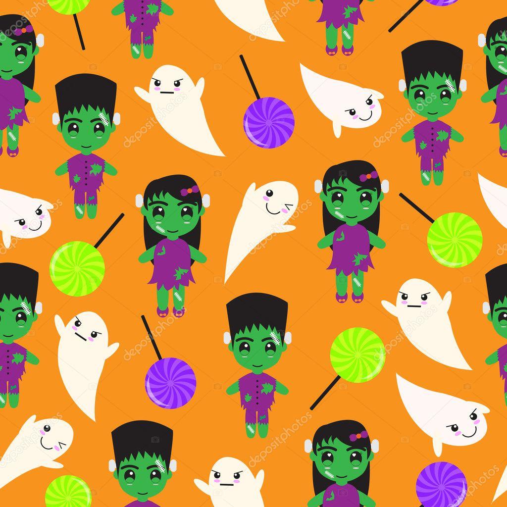 ハロウィン イラストかわいいゾンビお菓子ポストカード壁紙