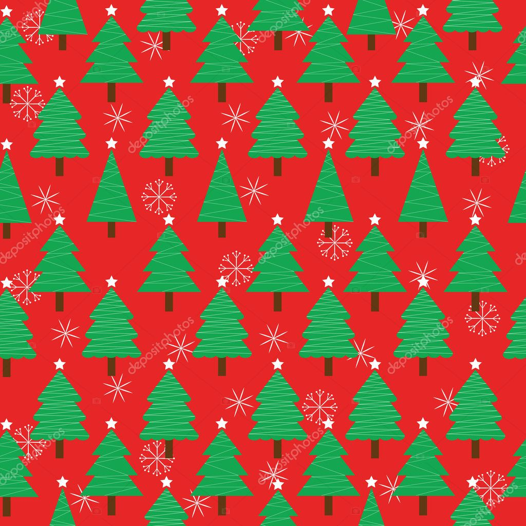 Seamless Background Of Christmas Illustration With Xmas Tree And