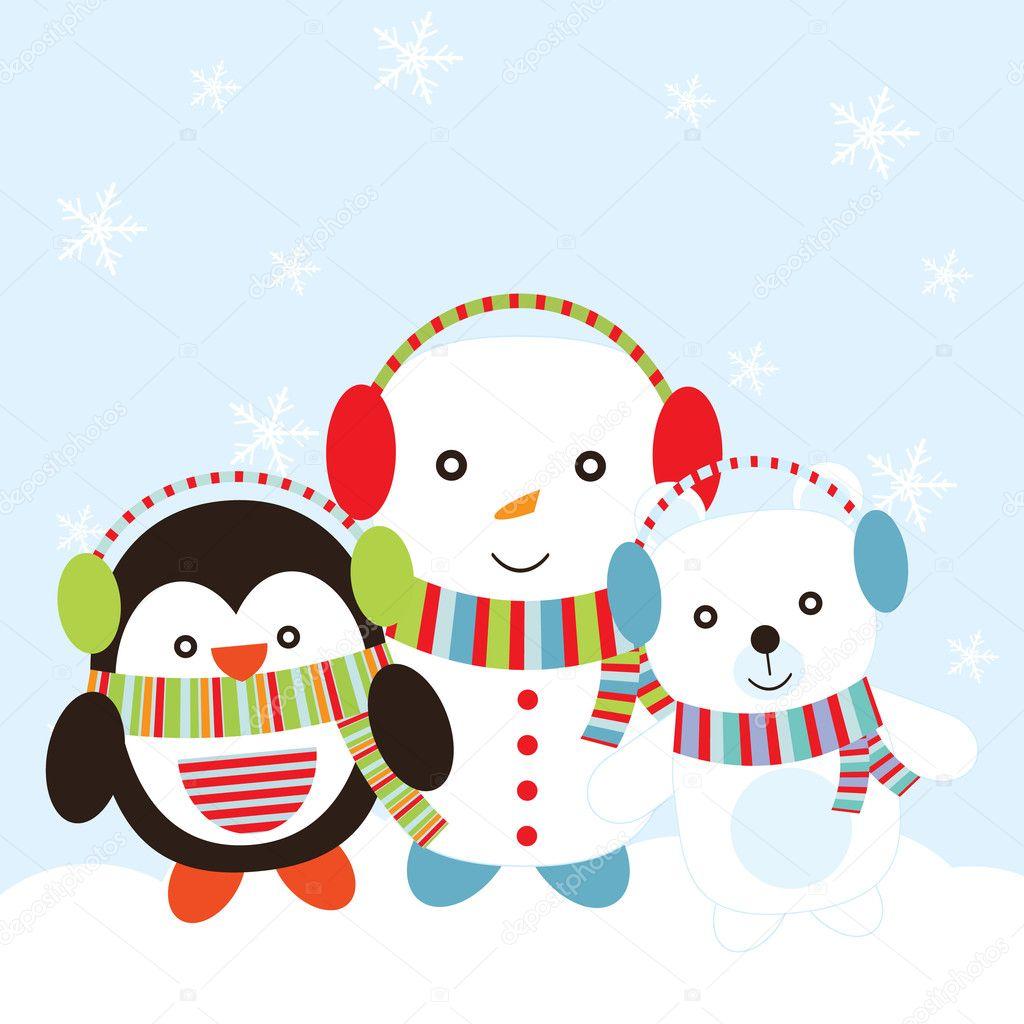 Christmas illustration with cute penguin, snowman, and polar bear ...