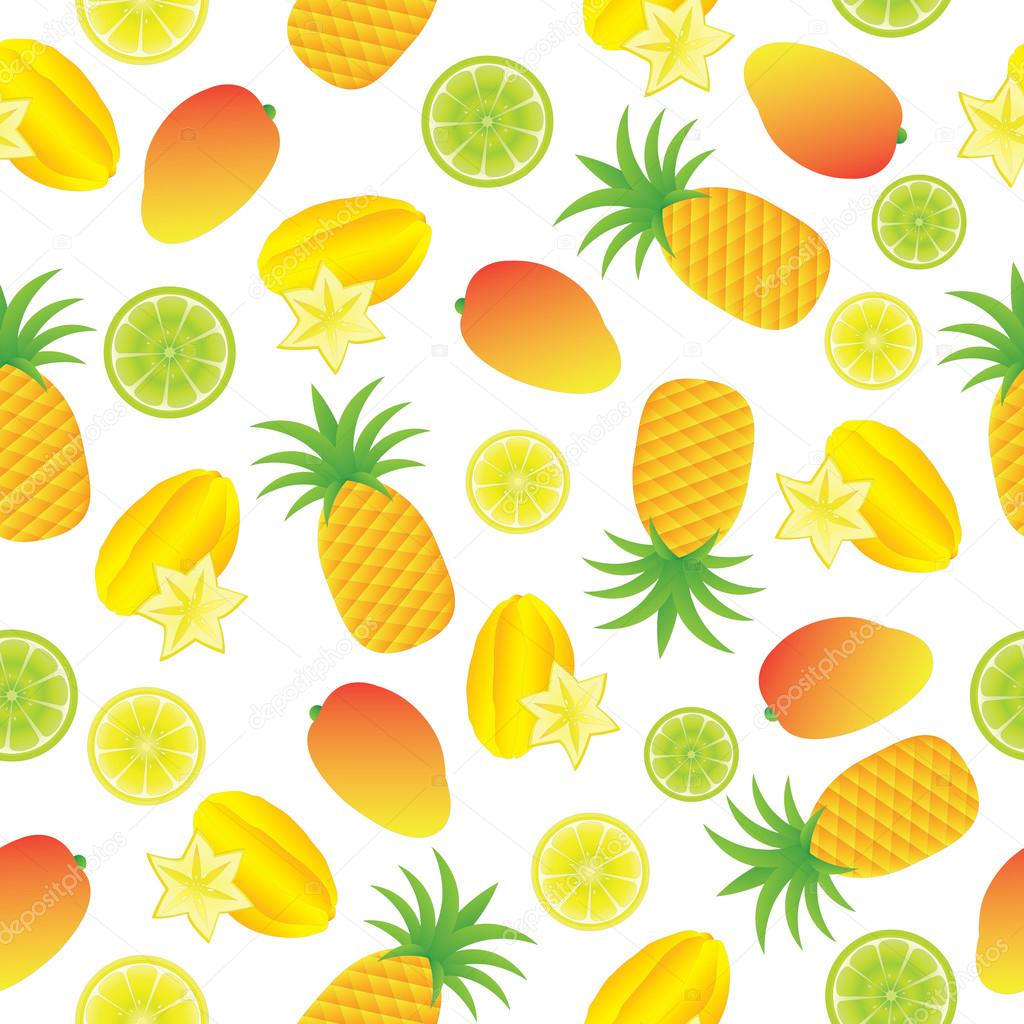 夏イラスト白背景の壁紙、ポストカード、メモ用紙に適した熱帯果実との