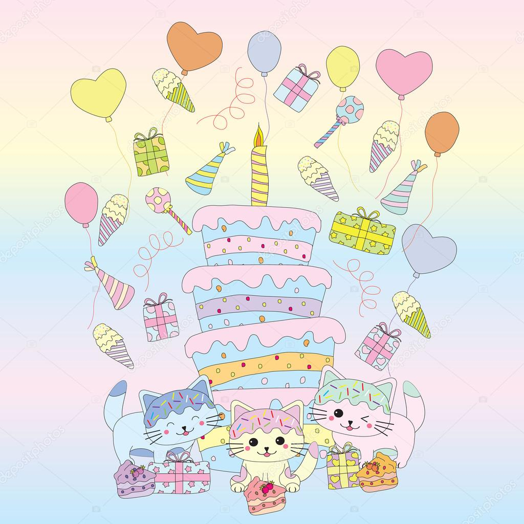 Birthday Illustration With Cute Kitten Cakes Gift And Balloons