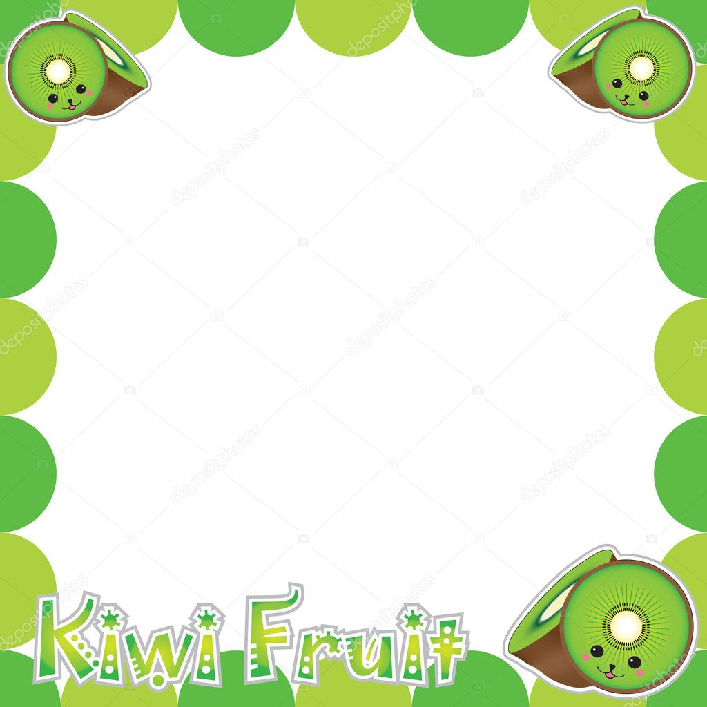 summer illustration with cute kiwi frame suitable for postcard