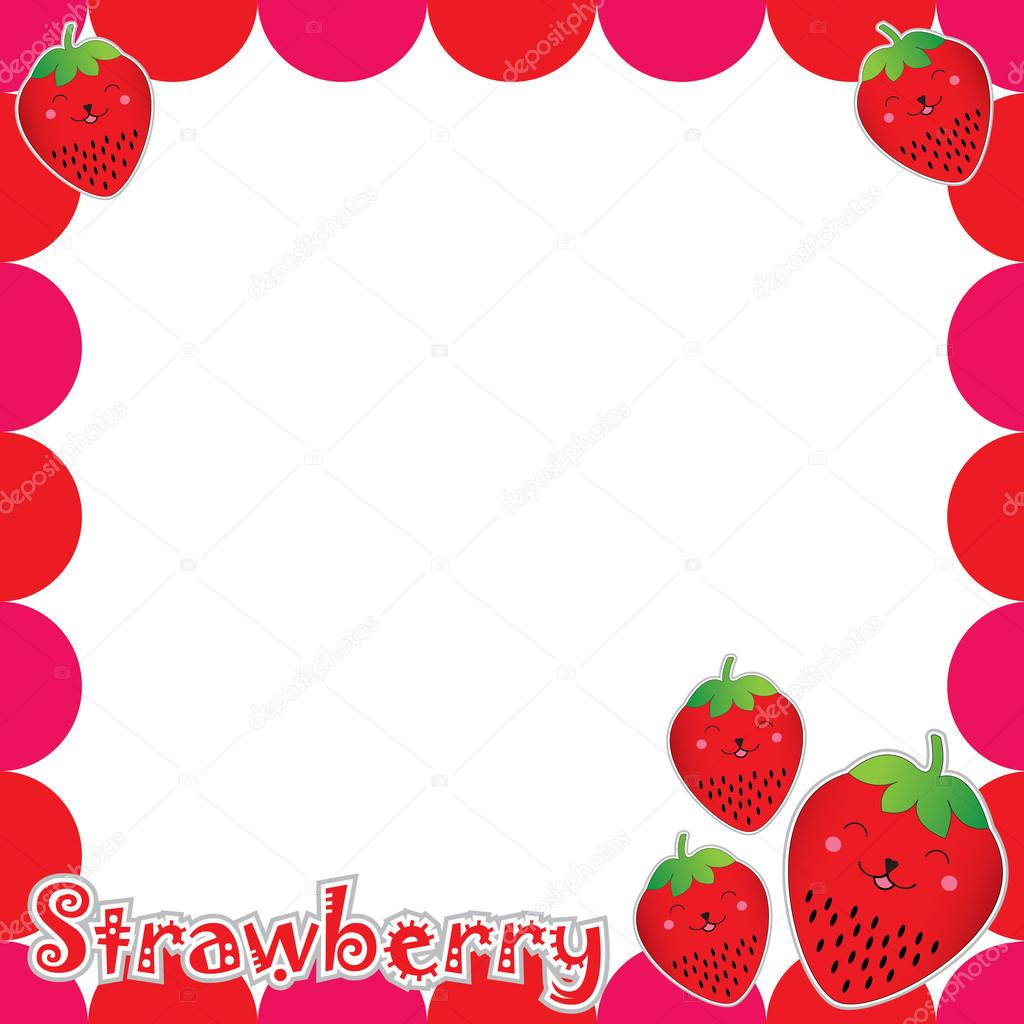 summer illustration with cute strawberry frame suitable for postcard