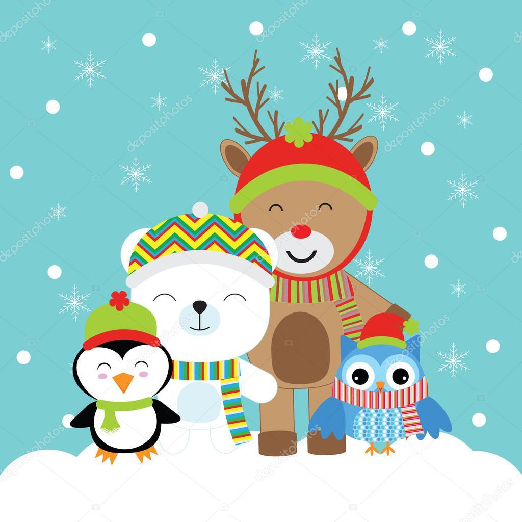 Weihnachten Illustration mit niedlichen Hirsch, Pinguin, Bär und ...