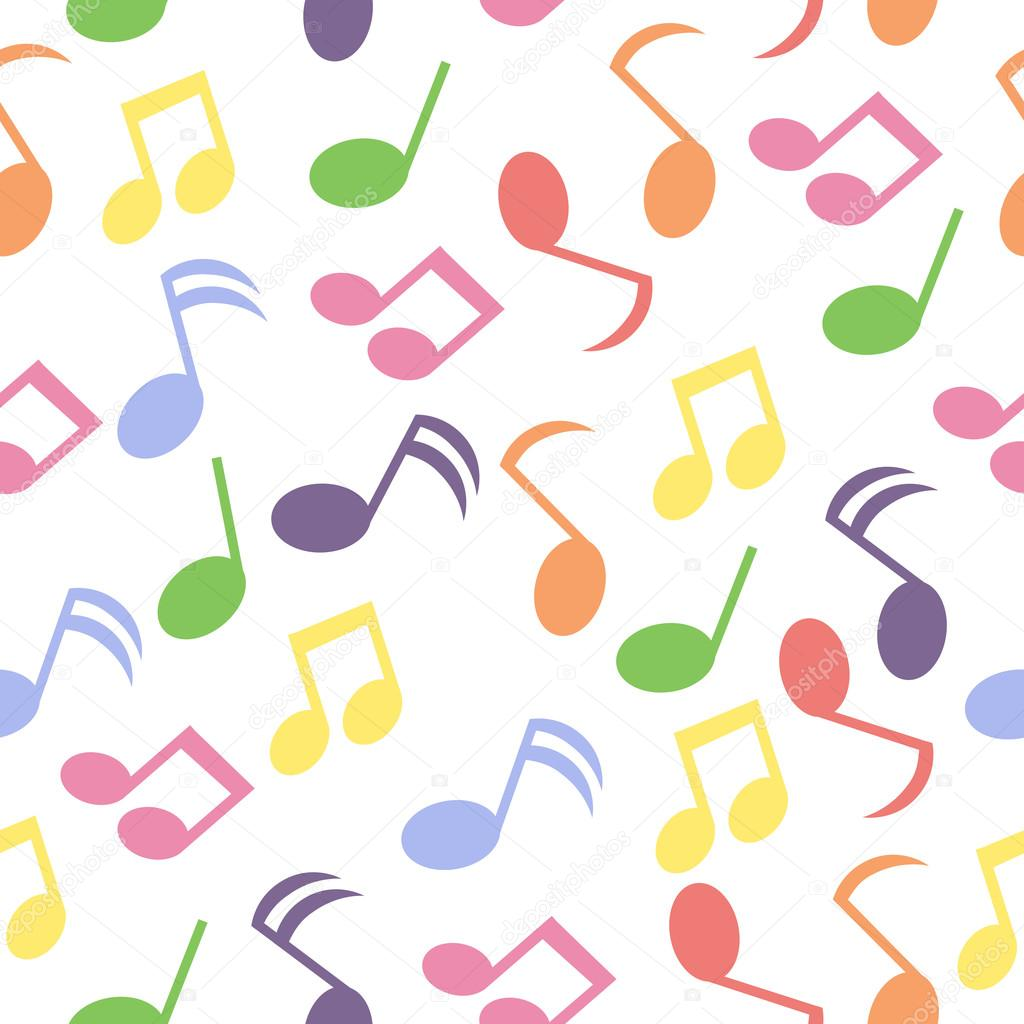 Seamless Background With Colorful Music Note On White Background