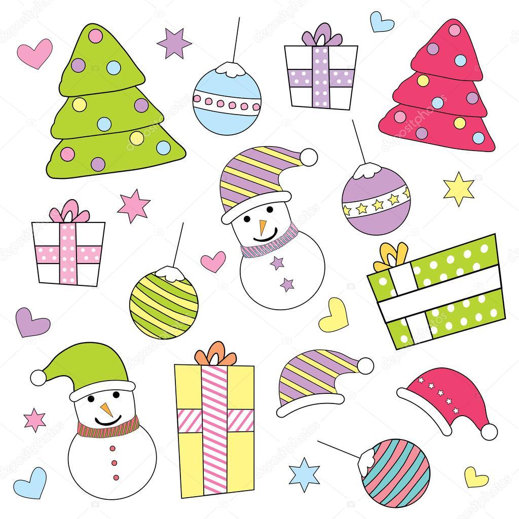 Weihnachten Illustration mit niedlichen Xmas Geschenk, Ornamente ...