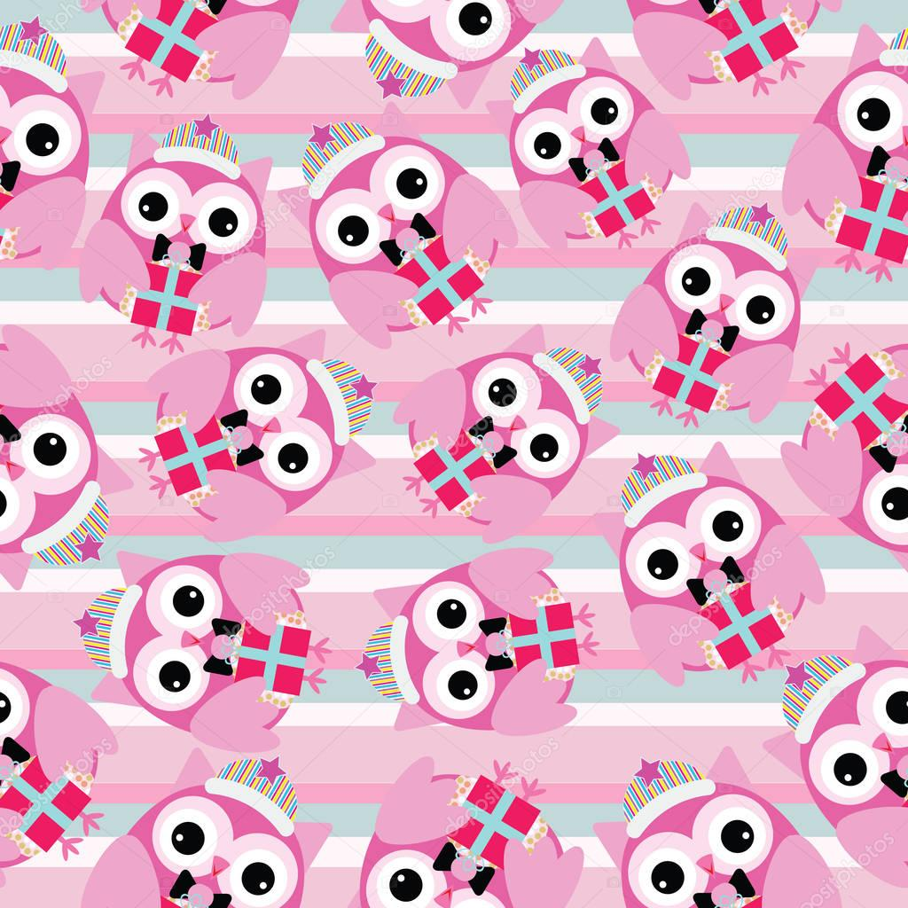 Seamless background of Christmas illustration with cute pink owl on stripes background suitable for wallpaper,