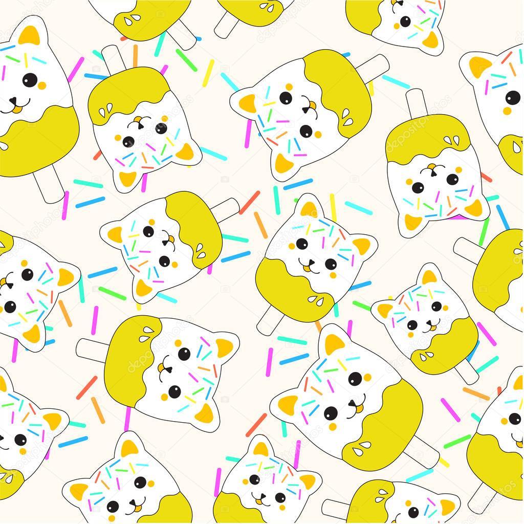 かわいい猫アイスを黄色の壁紙、ポストカード、メモ用紙に適した夏