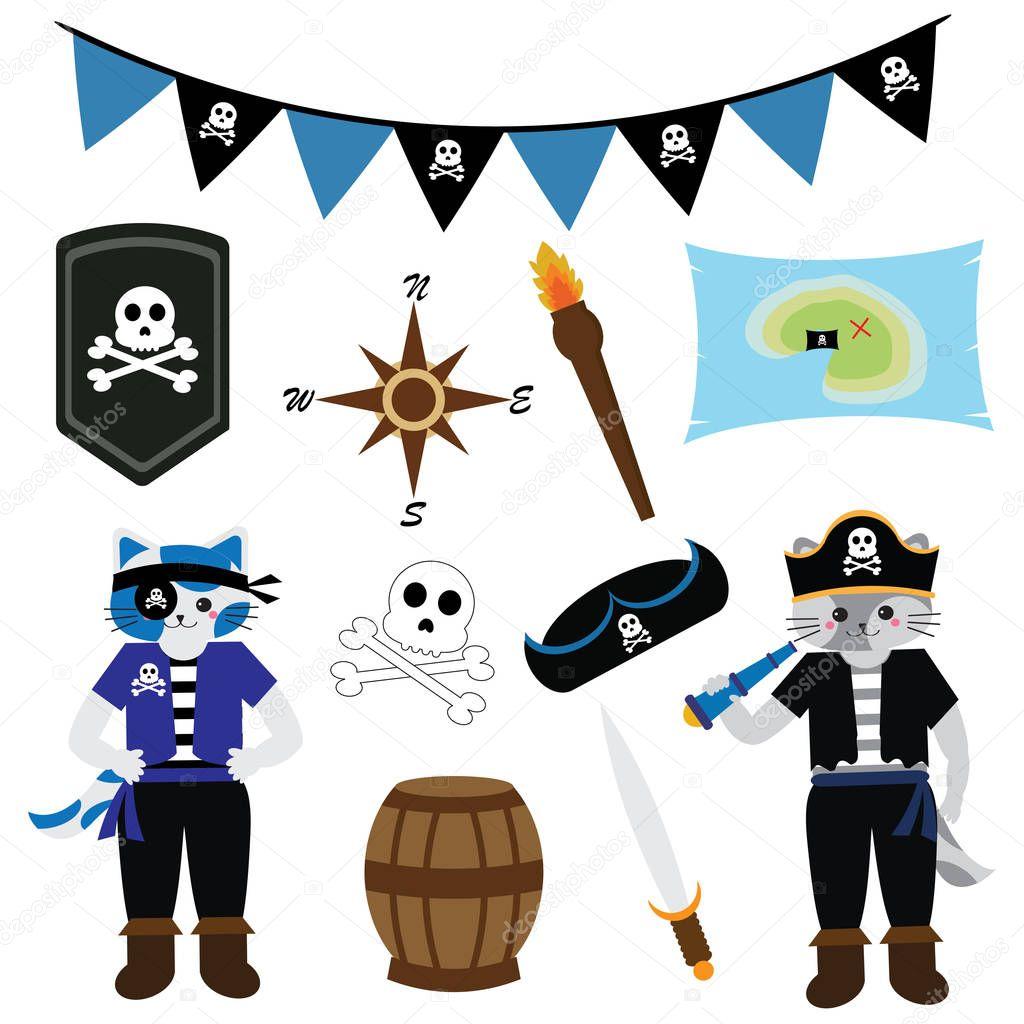 de cumpleaños con Gato Pirata tema y pirata adornos en azul color ...